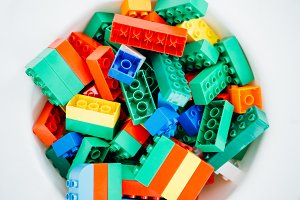 plastic colorful blocks background