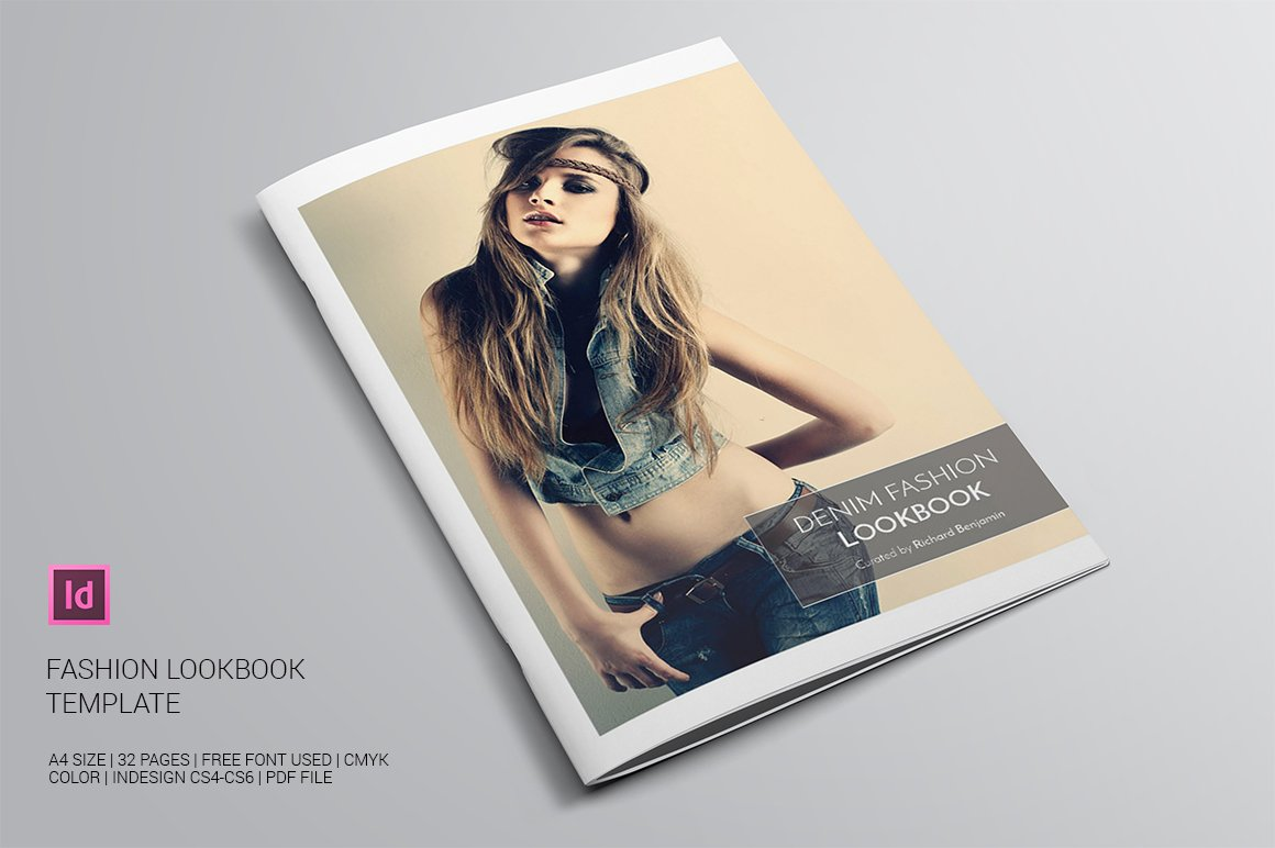 denim fashion lookbook brochure templates creative market. Black Bedroom Furniture Sets. Home Design Ideas