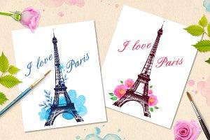 Romantic background with Paris
