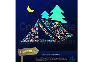 Camping icon background template set