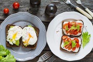 Various healthy breakfast toasts