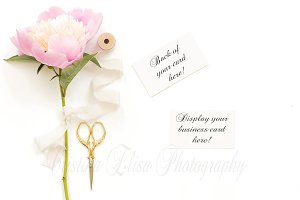 Pink Peony business card mockup