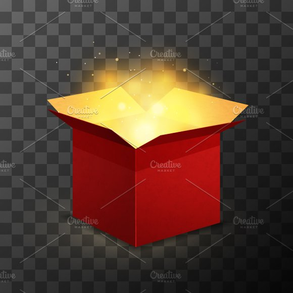 Red box with magic golden light