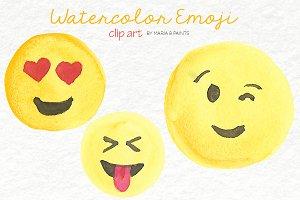 Watercolor Clip Art - Emoji