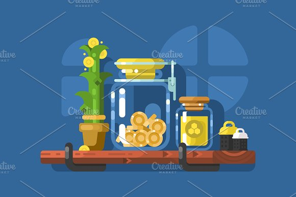 Savings and glass jar with coins