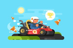 Riding a karting