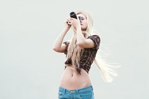 long-haired blonde photographer