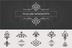 Vintage Damask Ornaments II