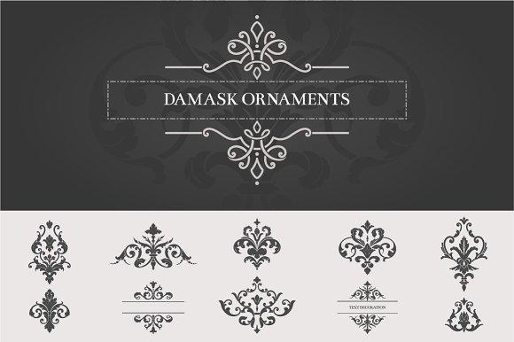 Vintage Damask Ornaments II