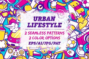 Urban lifestyle seamless patterns