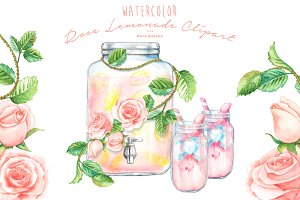 Watercolor Rose Lemonade Clipart