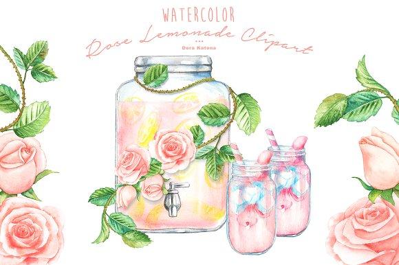 Watercolor Rose Lemonade Clipart
