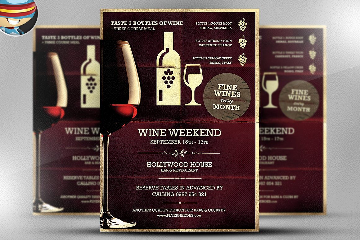 Wine night poster template templates creative market for Wine brochure template free