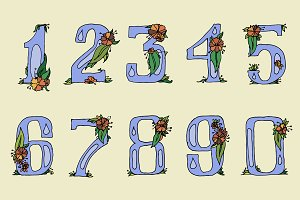 Hand drawn flowered digits. Vector