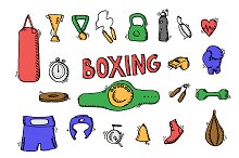 Boxing doodle icon set. Vector