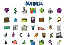 Business doodle icon set. Vector