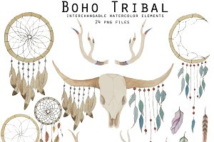 Boho Tribal Watercolor Elements