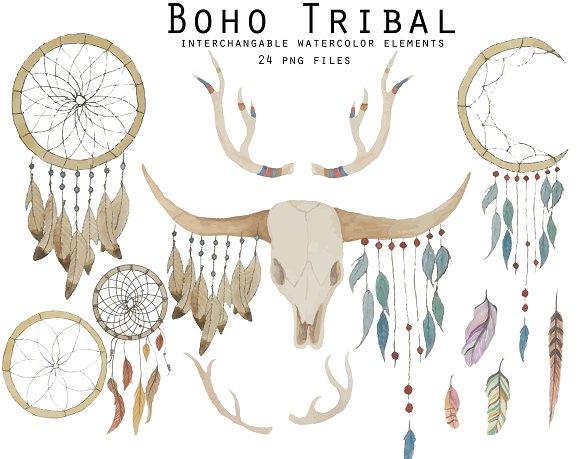 Boho Tribal Watercolor Elements