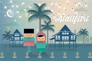 hari raya greeting template vector