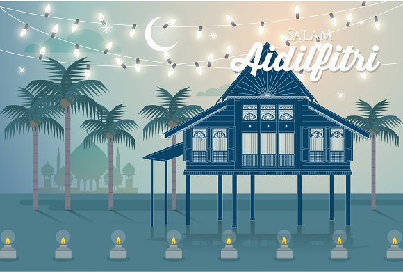 hari raya greeting template vector in Illustrations