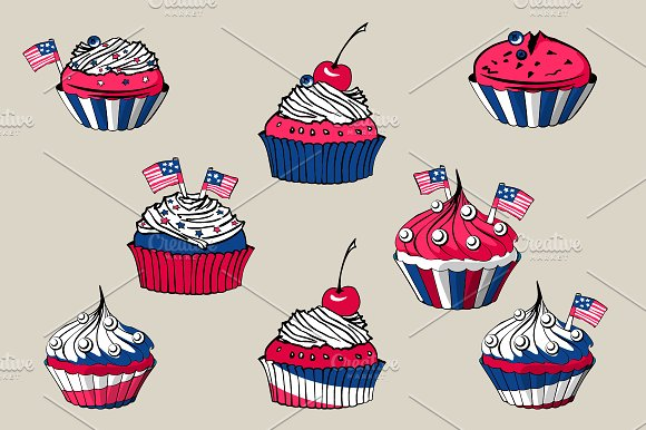 July, 4th Cakes in Objects