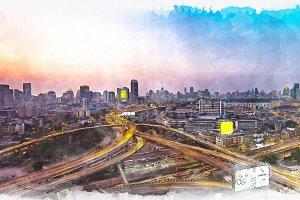 watercolor of cityscape.