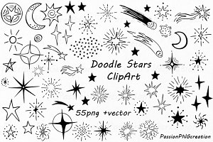 Doodle Stars Clipart