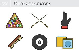 Billiard icons. Vector