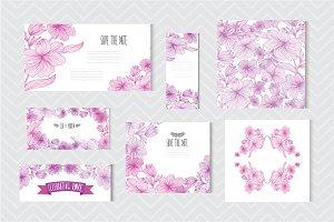 Violet Floral Cards
