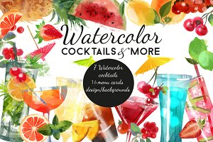 Watercolor cocktails & mohre