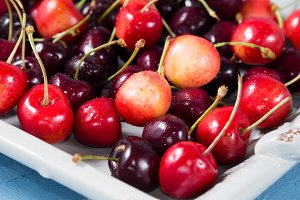 Cherries on a tray