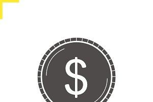 Dollar coin icon. Vector