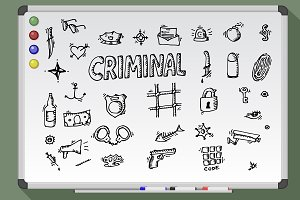 Whiteboard Criminal icon set. Vector