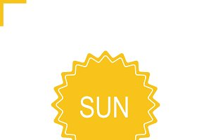 Sun sticker icon. Vector