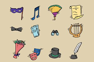 Theater. Doodle icons. Vector.