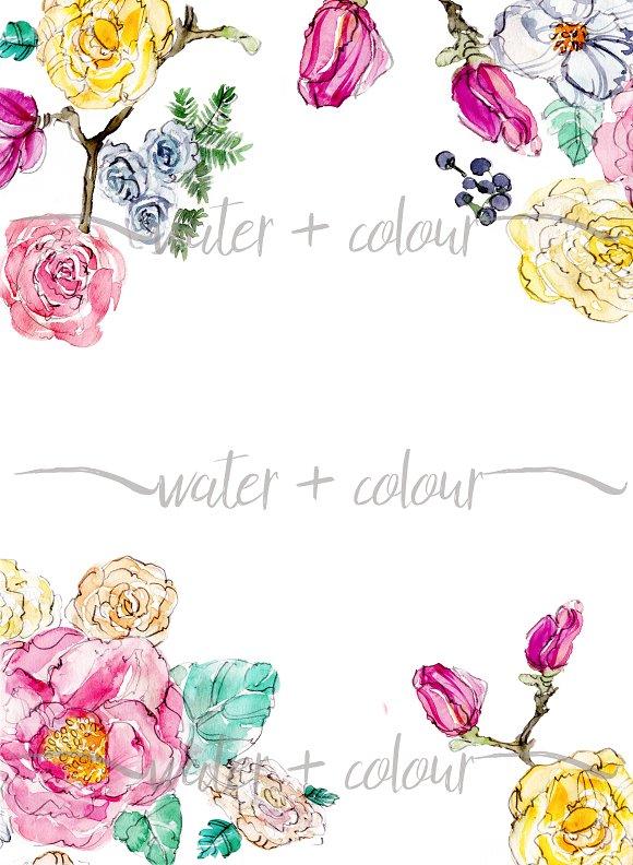 watercolor floral border ~ Graphics ~ Creative Market