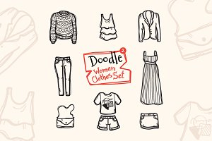 8 Doodle Icons. Women Clothes #2