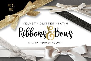Velvet Satin Glitter Ribbons & Bows