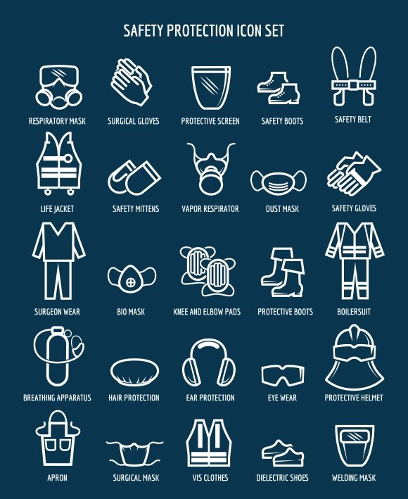 Work and occupational safety icons