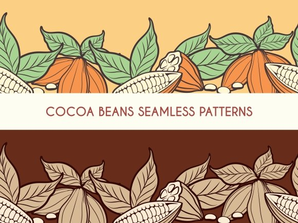 Cocoa beans seamless patterns