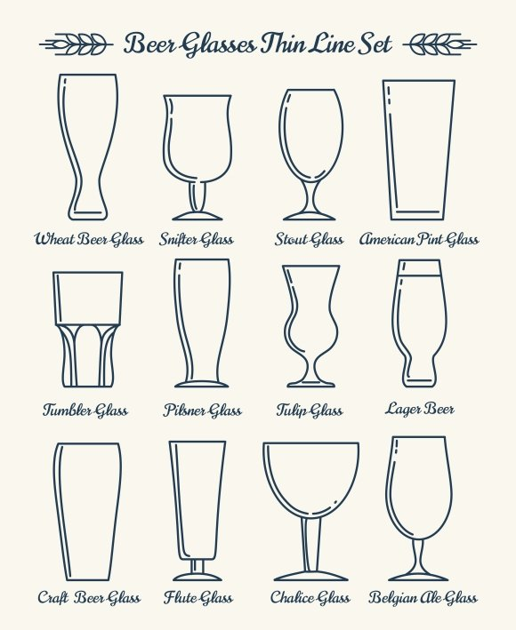 Beer glassware line icons