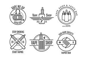 Vape shop labels and vapor bar logo