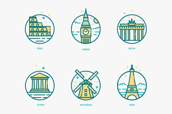 Famous Monuments and buildings icons in Graphics - product preview 1