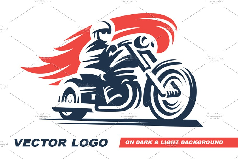 Classic Motorcycle Logo Graphic Objects Creative Market