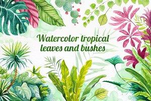 Watercolor tropical leaves set#2.
