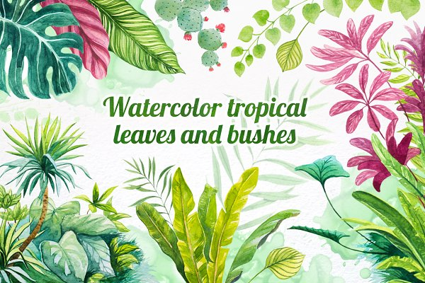 Watercolor tropical leaves set#2.