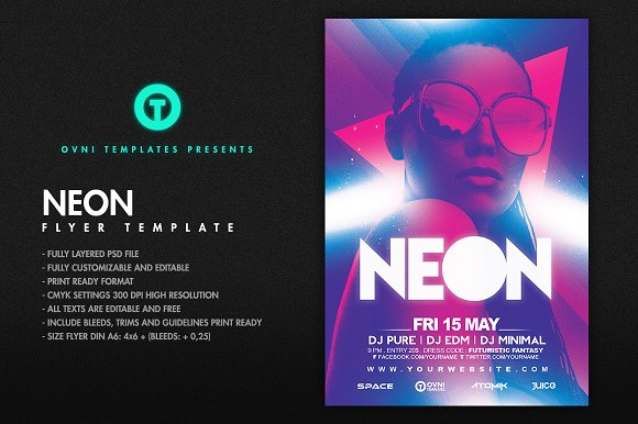 NEON Flyer Template Templates Creative Market