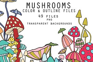 Mushrooms - color and outline