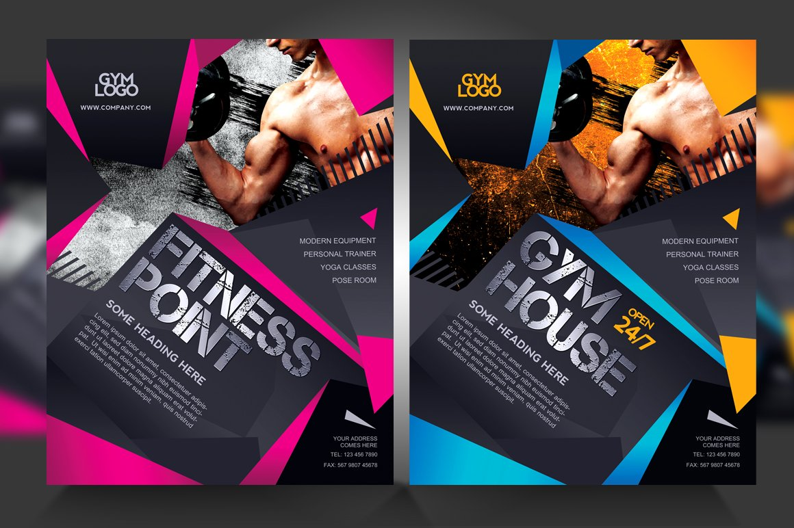 fitness gym flyer v1 flyer templates creative market. Black Bedroom Furniture Sets. Home Design Ideas