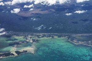 Airplane view beautiful ocean scene